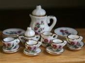 Tea set with pink flowers