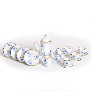 Coffe set, blue flowers 15 pcs