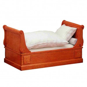 Bed, biedermeier sleigh bed, mattress included
