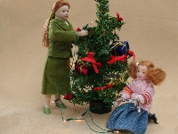 Lamps with cord for Christmas tree, 12 pcs (tree and dolls not included)