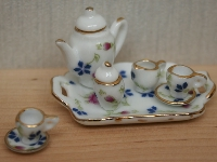 Tea set, pink and blue flowers,