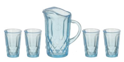 Pticher with 4 glasses, blue