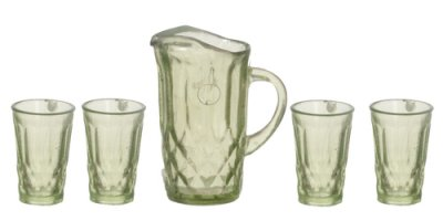Pticher with 4 glasses green