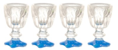 Wineglasses, set of four, blue foot