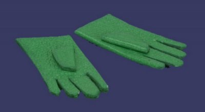 Gloves, green leather