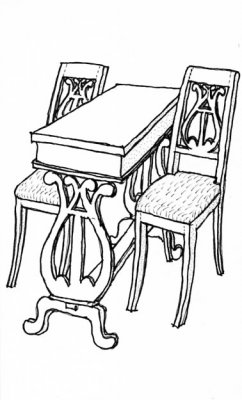 Two chairs and one sewing table from Mårbacka - kit