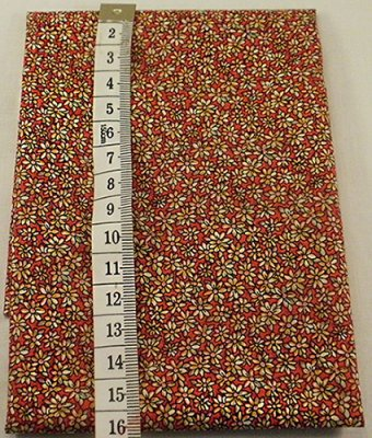 Fabric, red with yellow flowers
