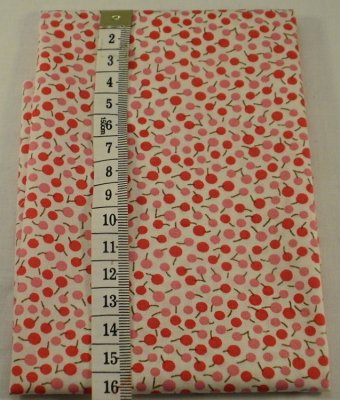 Fabric red and pink cherries