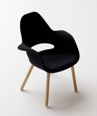 Chair black with wooden legs