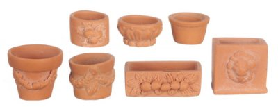 Assorted garden pots