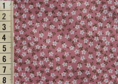 Fabric, pink with white flowers