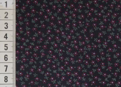 Fabric, black with red flowers
